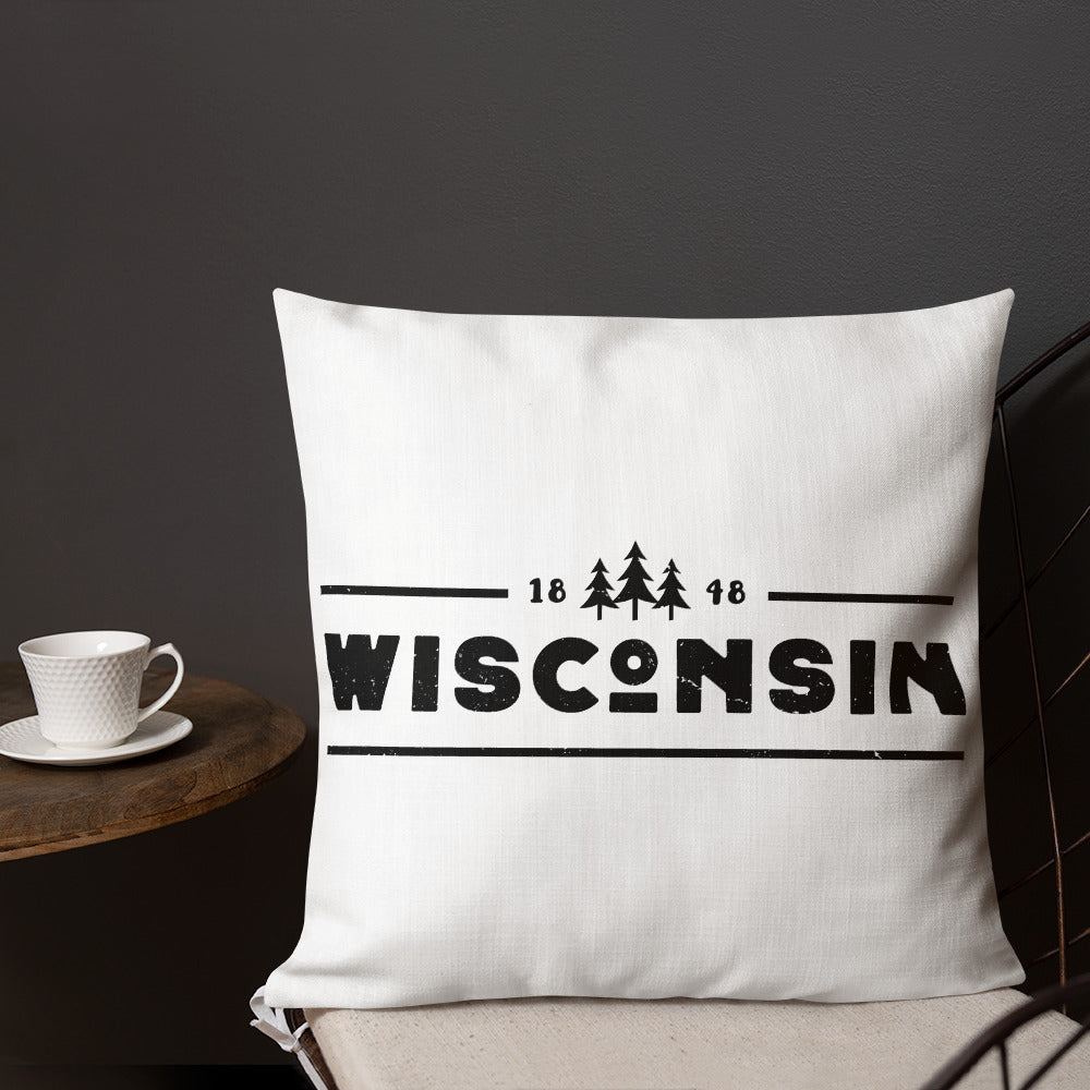18 by 18 inch white pillow with 1848 Wisconsin design