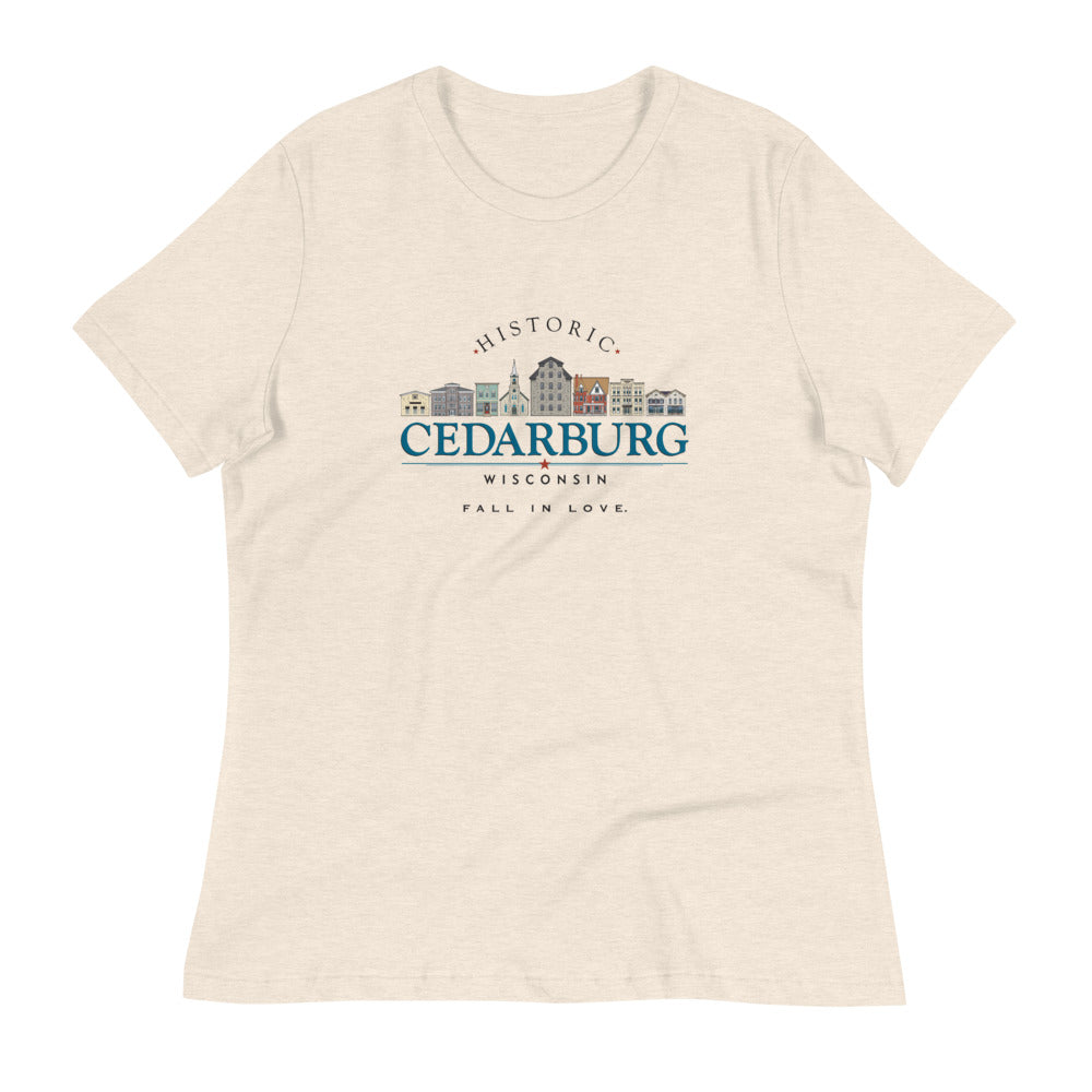 Heather Prism Natural women's tee with color Downtown Cedarburg design