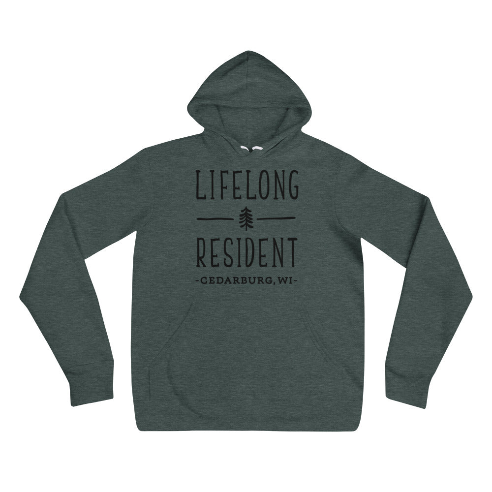 Heather Forest Hoodie with black Lifelong Resident Design