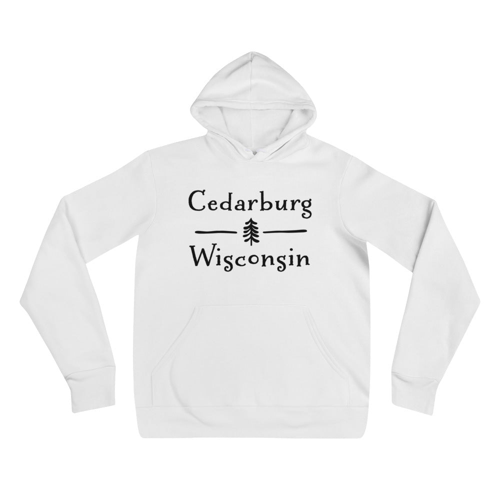 White Hoodie with Split Cedarburg logo with tree in black