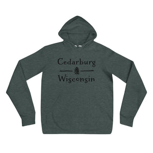 Heather Forest Hoodie with Split Cedarburg logo with tree in black