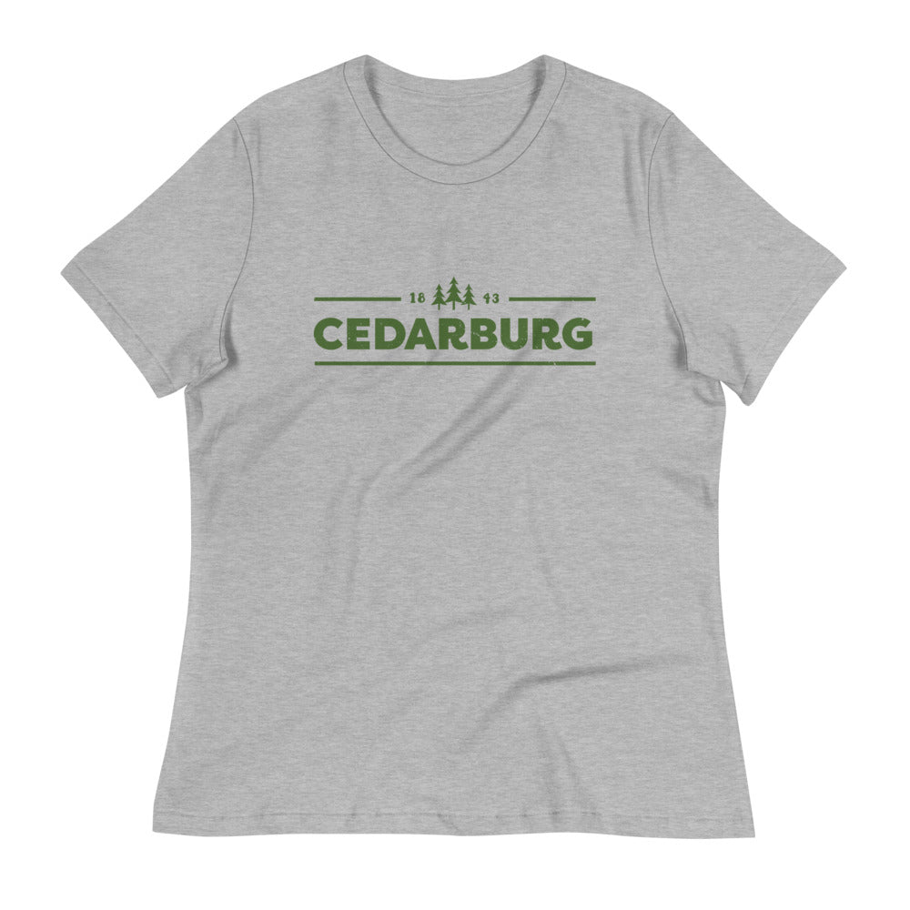 Athletic Heather women's Relaxed fit t-shirt with green Cedarburg 1843 design