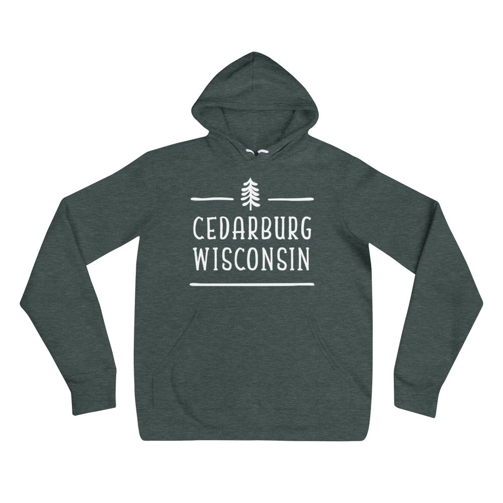 Heather Forest Hoodie with Tree topped Cedarburg logo in white