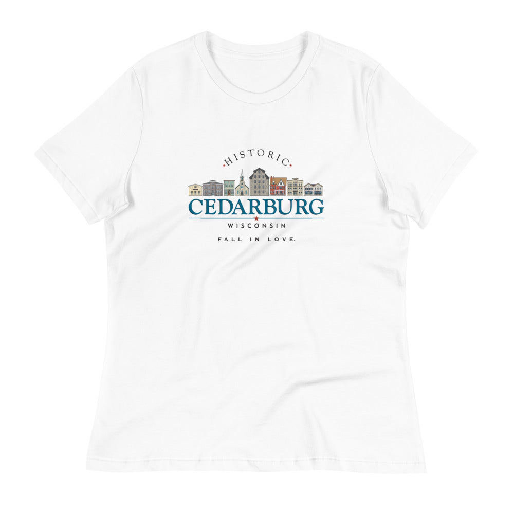White women's tee with color Downtown Cedarburg design