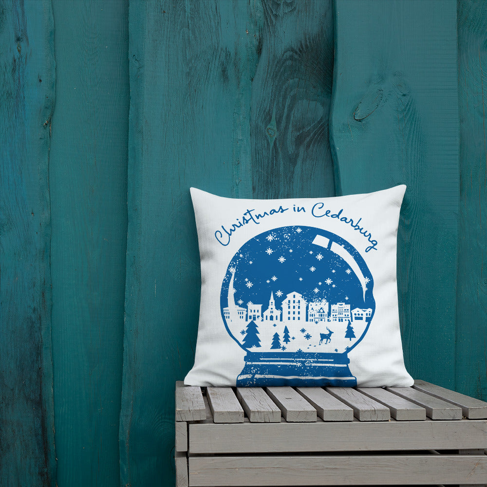 22 x 22 inch premium pillow with Snow Globe design in navy