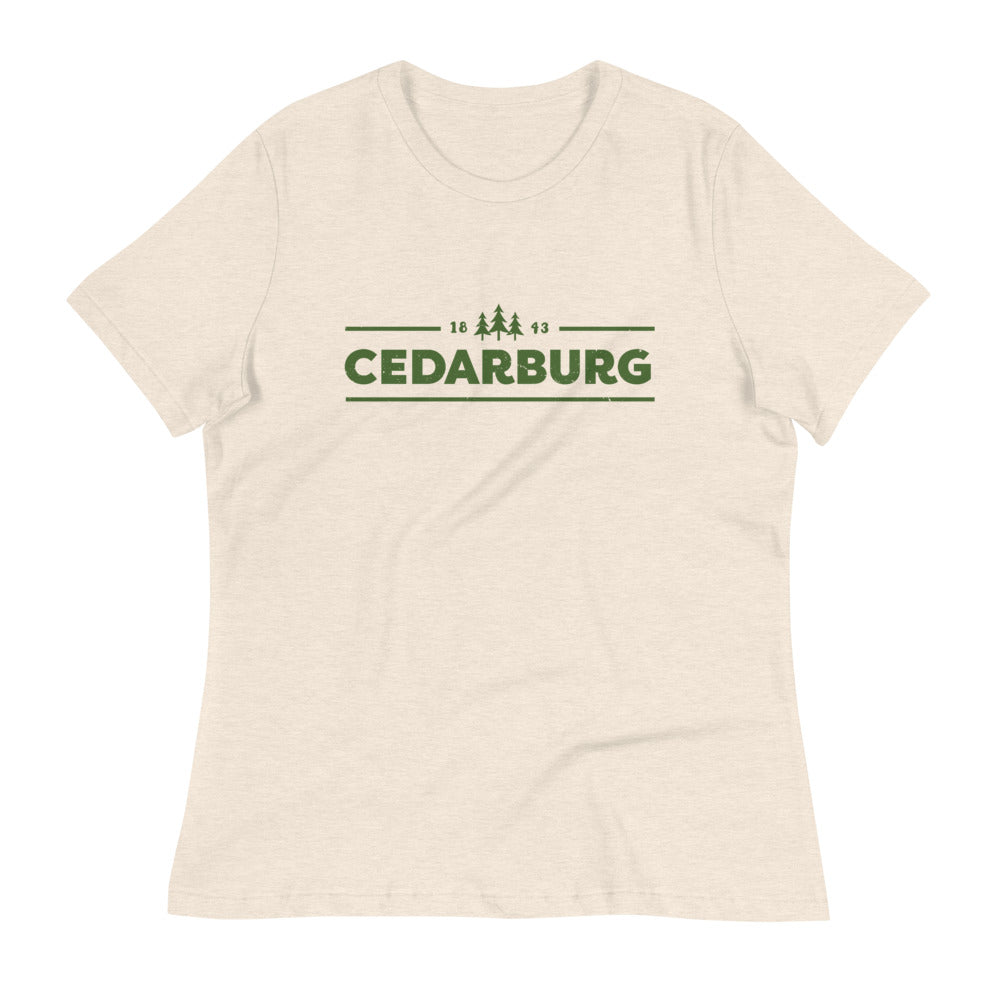 Heather Prism Natural women's Relaxed fit t-shirt with green Cedarburg 1843 design