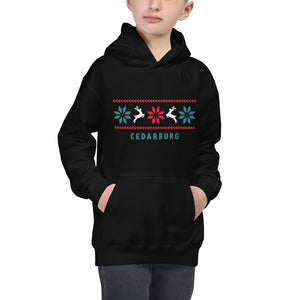 Mock up of Black kids unisex hoodie with Reindeer Cedarburg design
