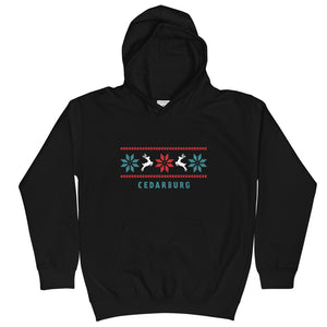 Black kids unisex hoodie with Reindeer Cedarburg design