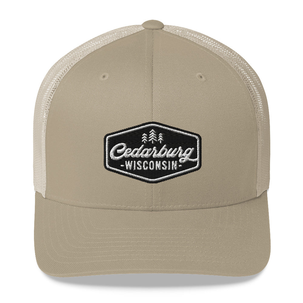 Khaki Trucker Style Hat with Vintage Cedarburg Logo in Black