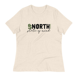 Heather Prism Natural Women's Relaxed fit T-shirt with Up North State of Mind script