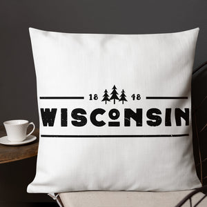 22 by 22 inch white pillow with 1848 Wisconsin design in black