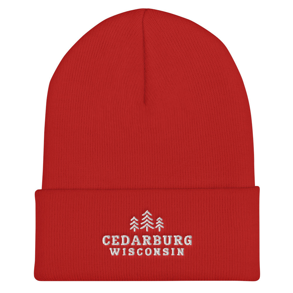 Red cuffed beanie with three tree Cedarburg, Wisconsin embroidered design in white