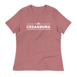 Heather Mauve women's relaxed fit tee with white Cedarburg 1843 design