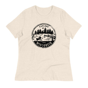 Heather Prism Natural  Women's Relaxed T-shirt with Explore Wisconsin design in black