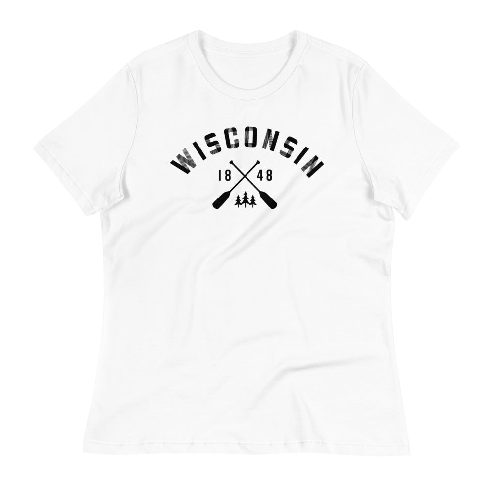 White Women's Relaxed Fit Wisconsin Paddle Plaid Design in Black