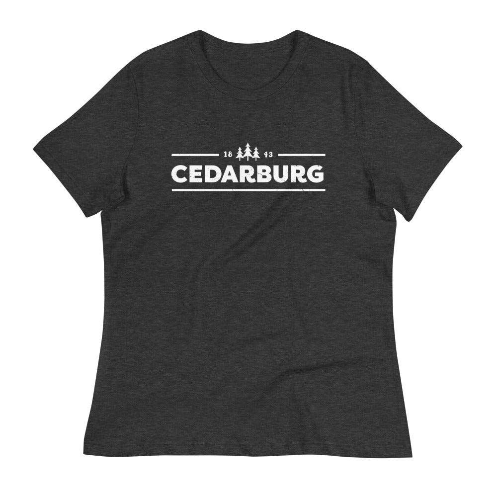 Dark Grey Heather women's relaxed fit tee with white Cedarburg 1843 design