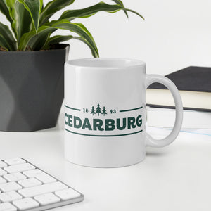 Cedarburg 1843 white ceramic mug with teal design