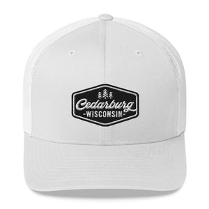 White Trucker Style Hat with Vintage Cedarburg Logo in Black