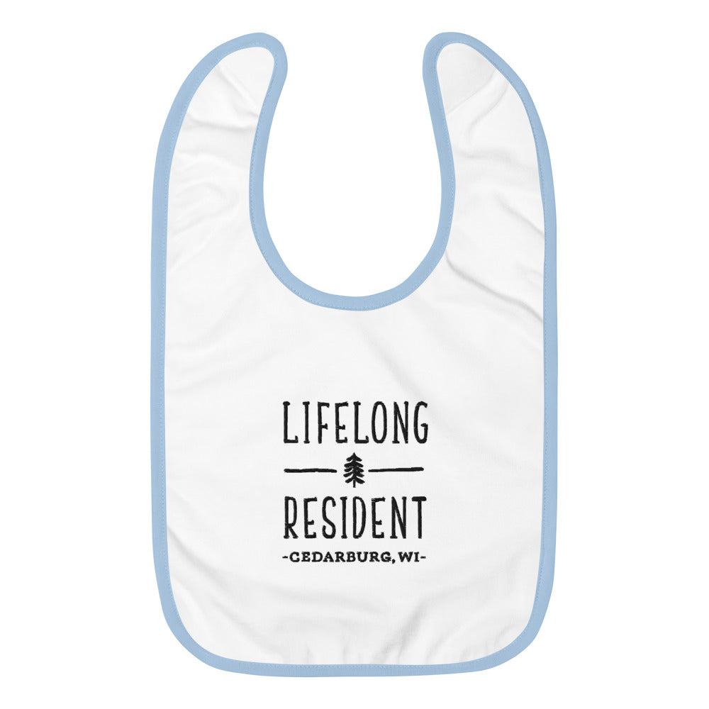 White with blue edging baby bib with lifelong resident design