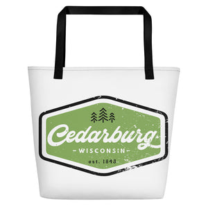 White Beach bag with vintage Cedarburg design in green