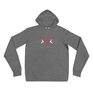 Deep Heather unisex hoodie with Wisconsin Reindeer design