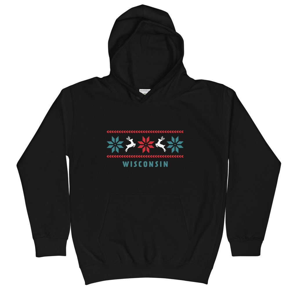 Black Kids Unisex Hoodie with Reindeer Wisconsin design