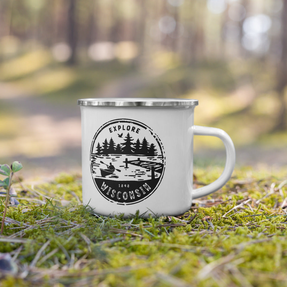 White Enamel mug with Explore Wisconsin design in black