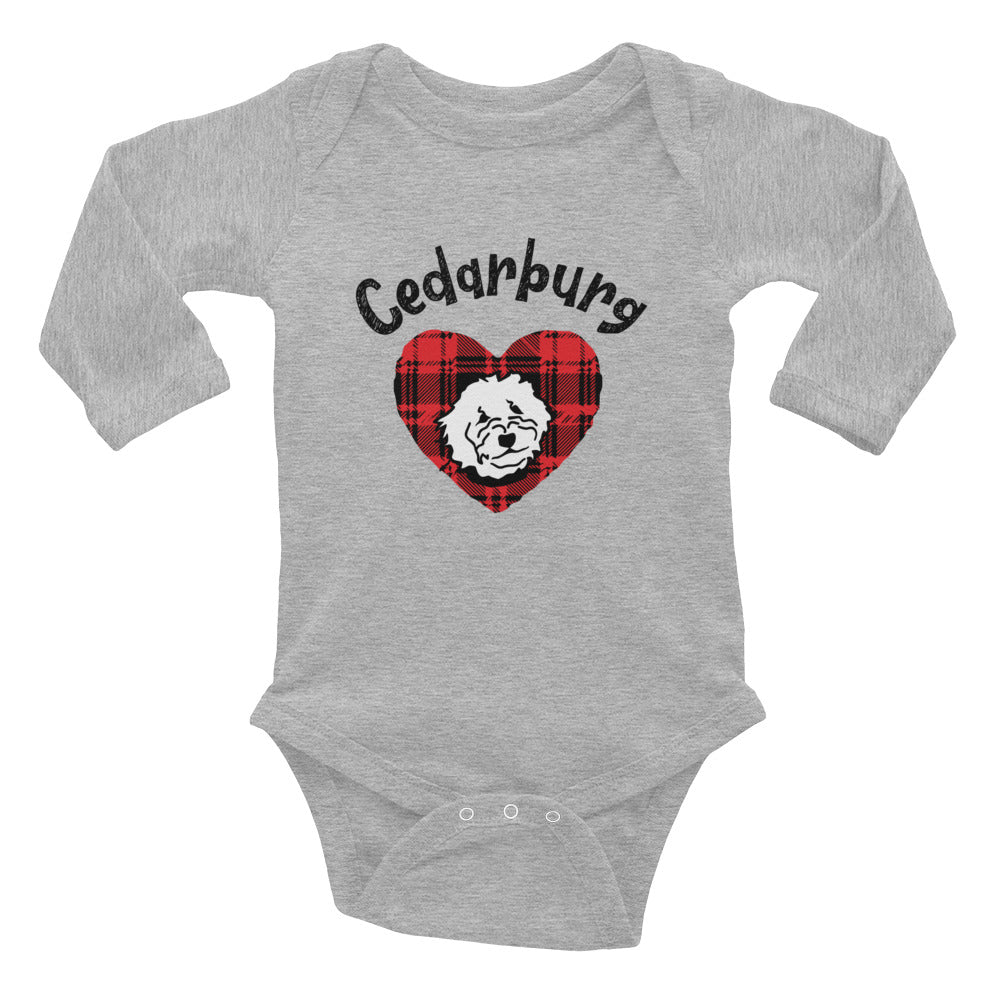 Heather Long Sleeve bodysuit with plaid heart design with puppy and Cedarburg design