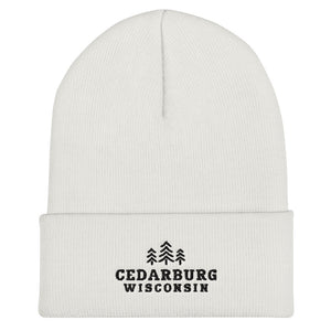 White Cuffed Beanie with three tree and Cedarburg, Wisconsin embroidered design in black