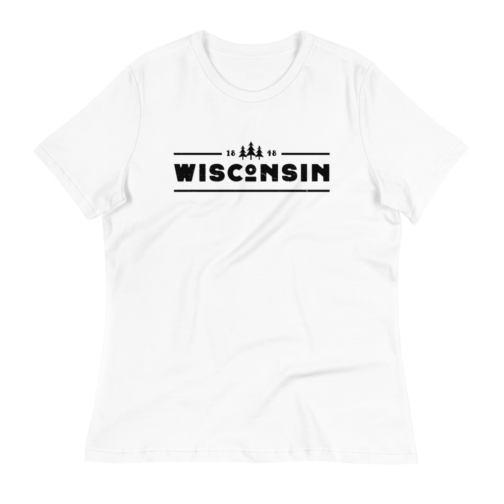 White women's relaxed fit t-shirt with black 1848 Wisconsin design