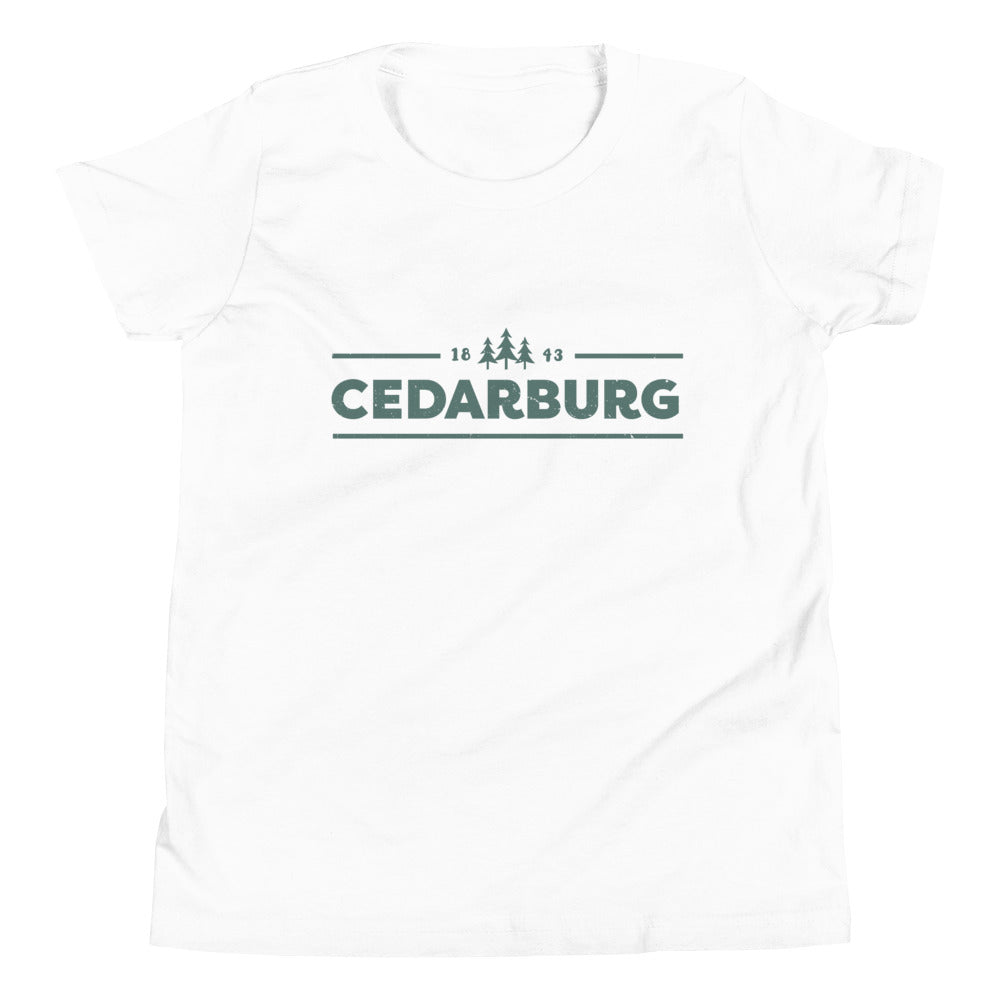 Cedarburg 1843 Youth Short Sleeve T-Shirt | 5 colors - Teal Design