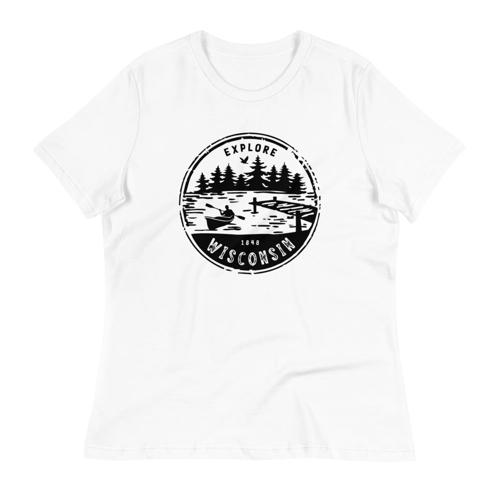 White  Women's Relaxed T-shirt with Explore Wisconsin design in black