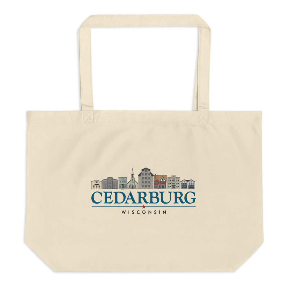 Natural large canvas bag with downtown Cedarburg design in color