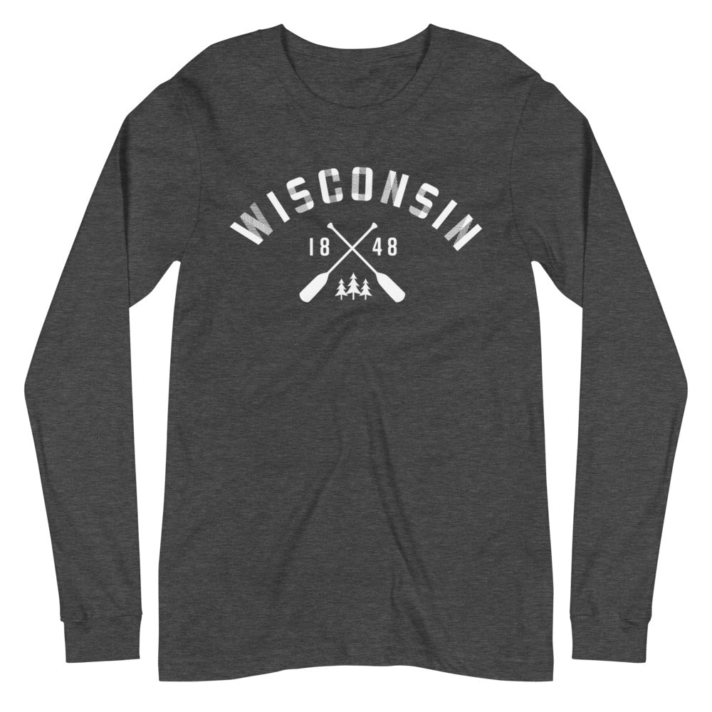 Dark Grey  Heather Long Sleeve Unisex Wisconsin Paddle Tee