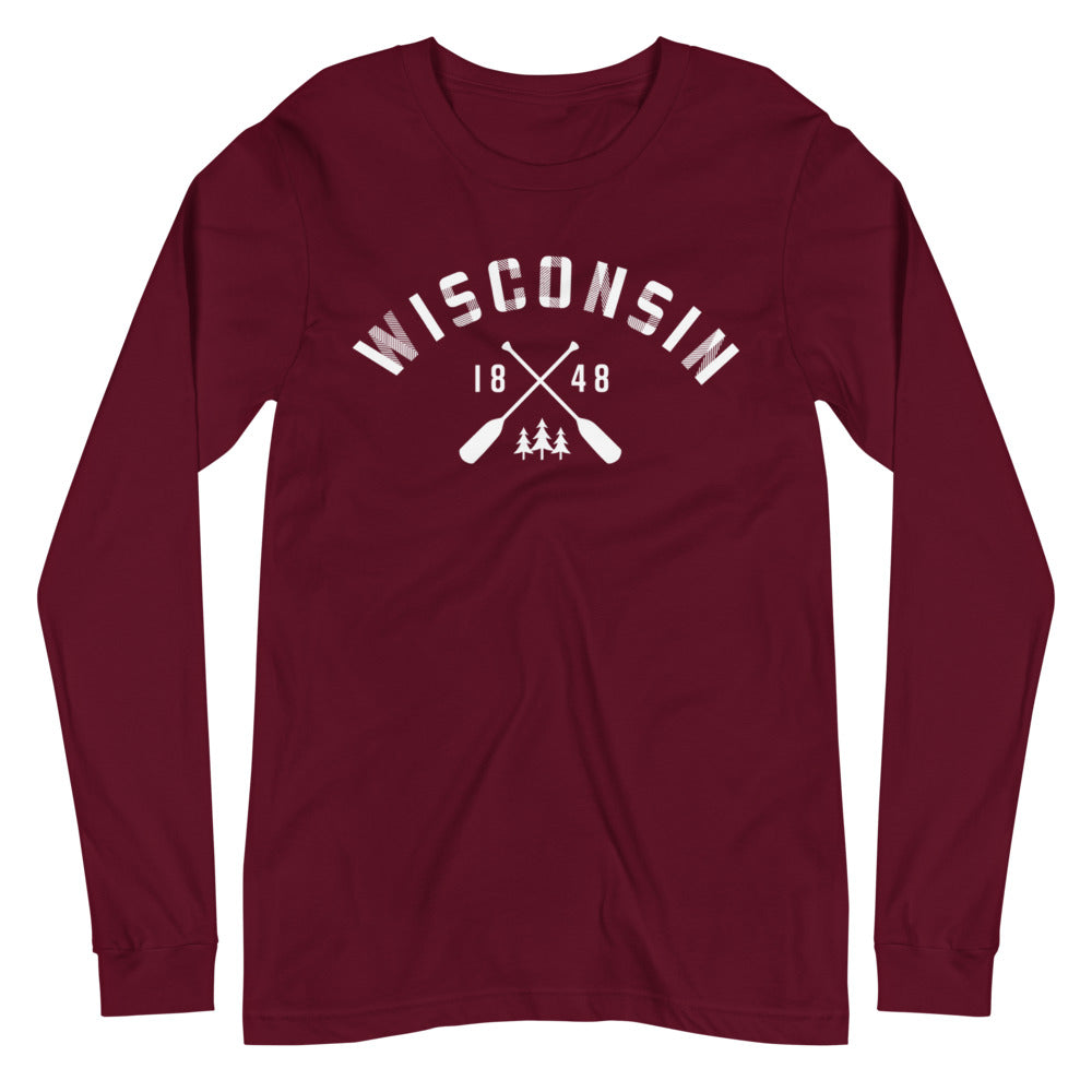 Maroon Long Sleeve Unisex Wisconsin Paddle Tee