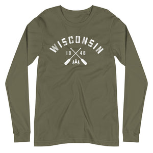 Military Green Long Sleeve Unisex Wisconsin Paddle Tee