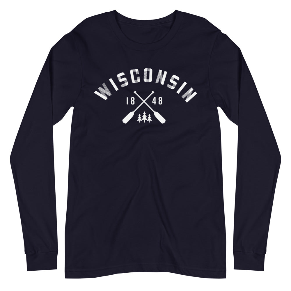 Navy Long Sleeve Unisex Wisconsin Paddle Tee