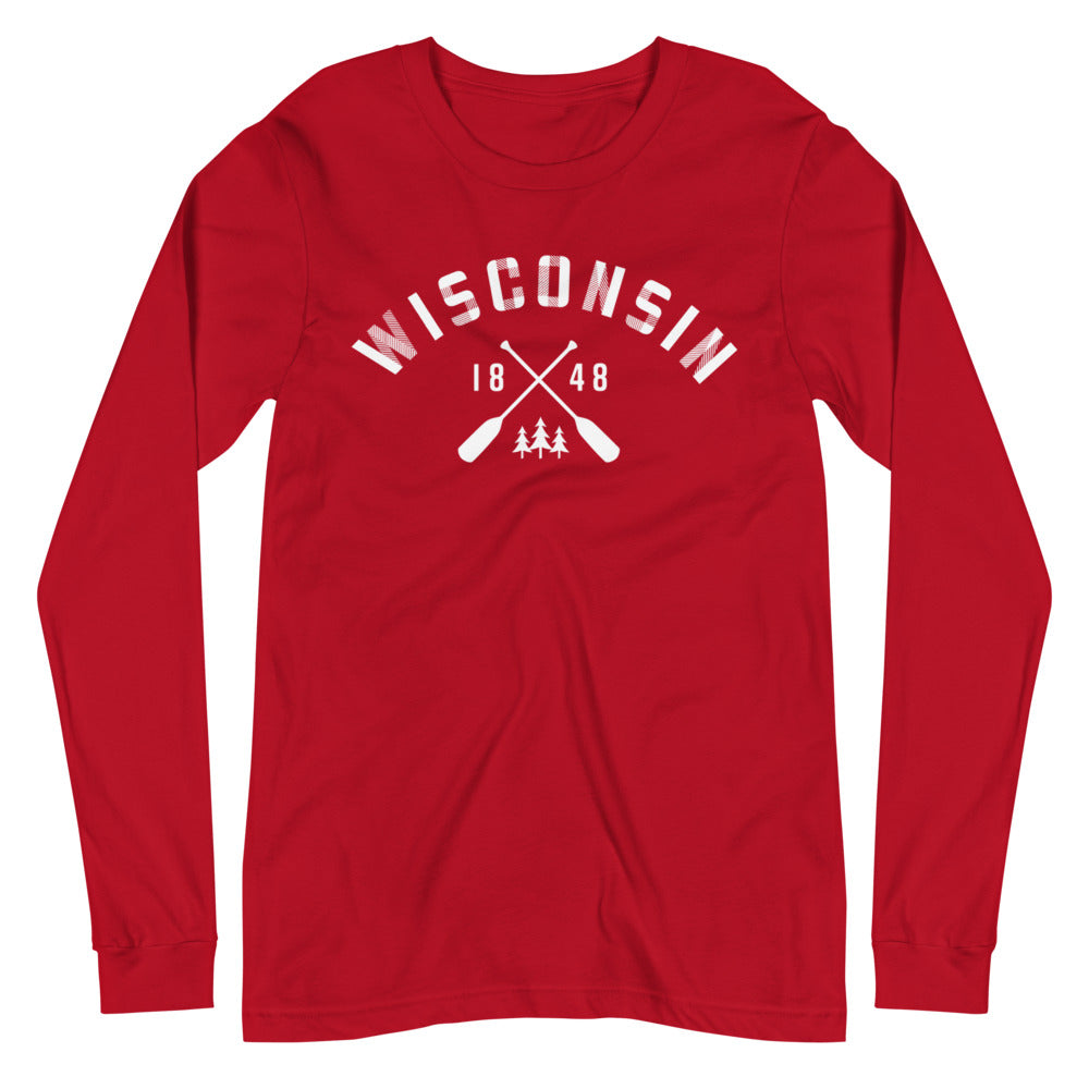 Red Long Sleeve Unisex Wisconsin Paddle Tee