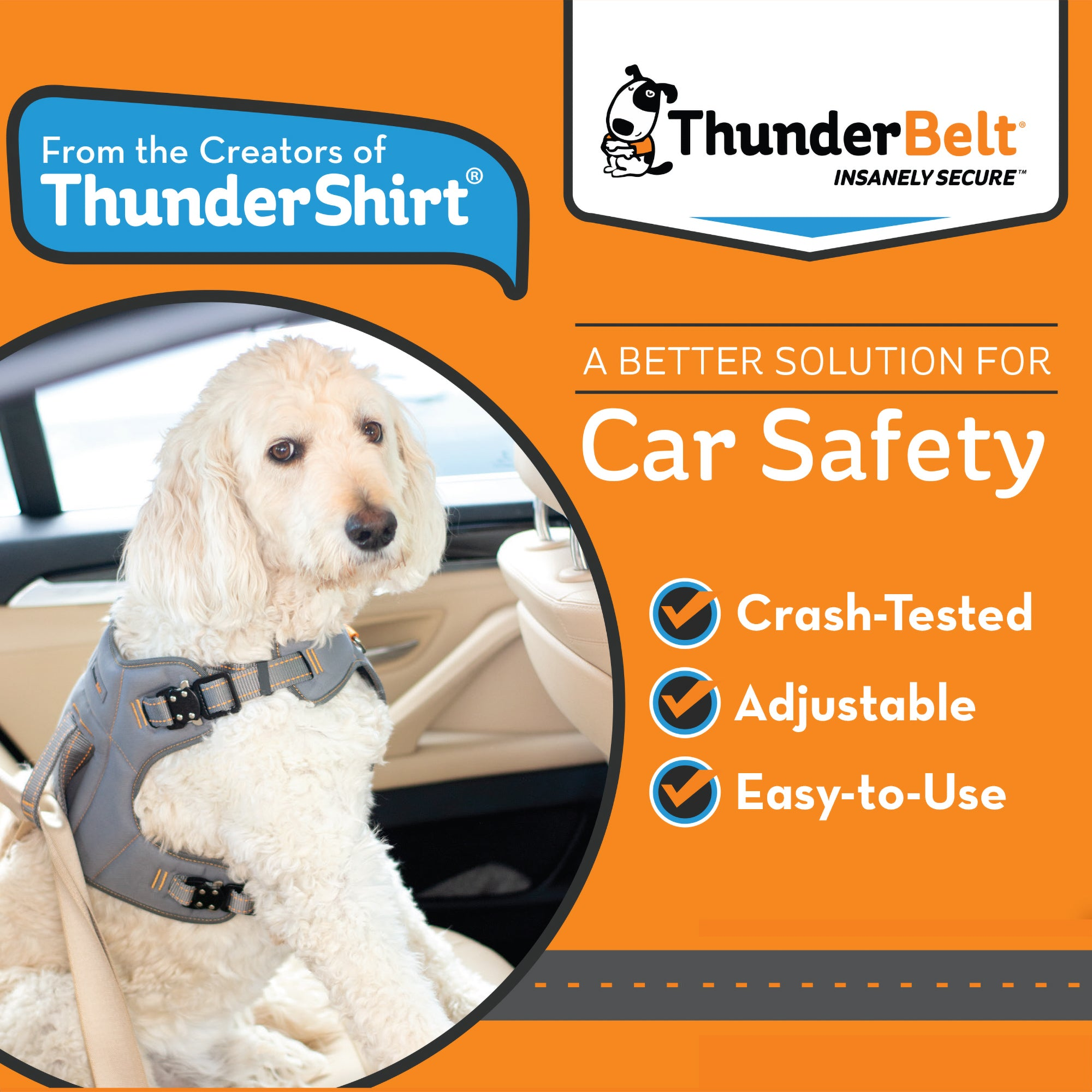 ThunderBelt for Dogs - Keep Your Dog Safe in the Car| T16-BeltGrey-S | T16-BeltGrey-M | T16-BeltGrey-L