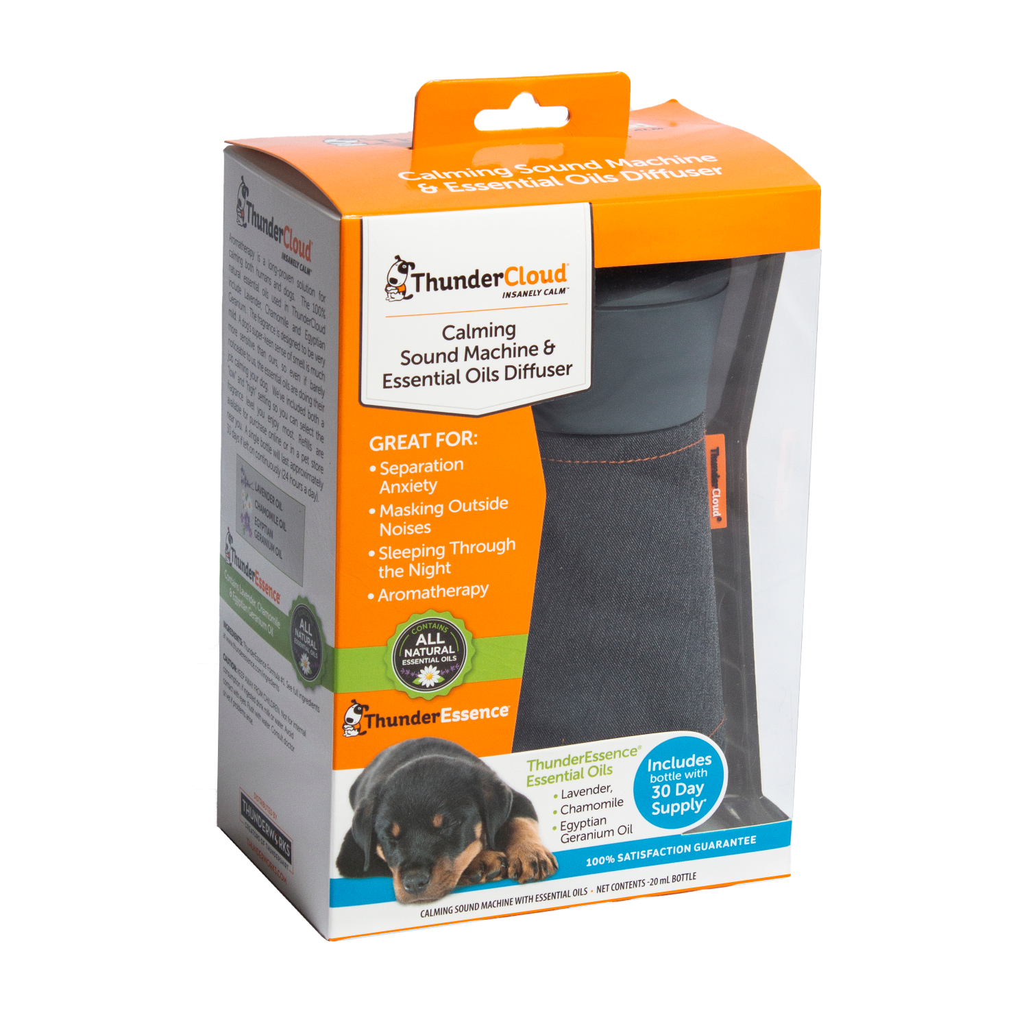 ThunderCloud calming sound machine for dogs with essential oils for dogs