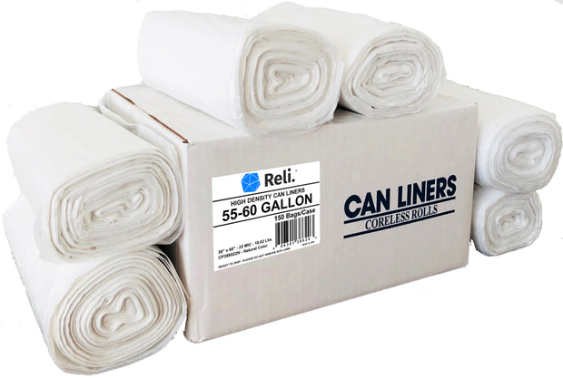 55-60 gallon trash bags clear rolls high density can liners coreless