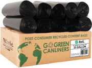 eco friendly trash bags go green can liners 33 gallon post consumer recycled content bags LDPE