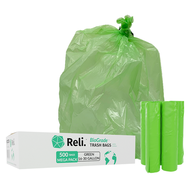 oxo biodegradable trash bags 16-30 gallon 500 bags mega pack green rolls