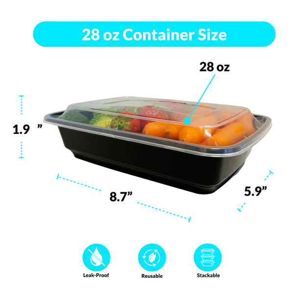 28 oz food container size 8.7x5.9x1.9 leak proof reusable stackable snap on lids