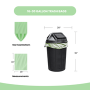 16-30 gallon trash bags star seal bottom 30x36 measurements