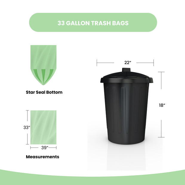 Biodegradable 33 Gallon (100 Count or 250 Count)