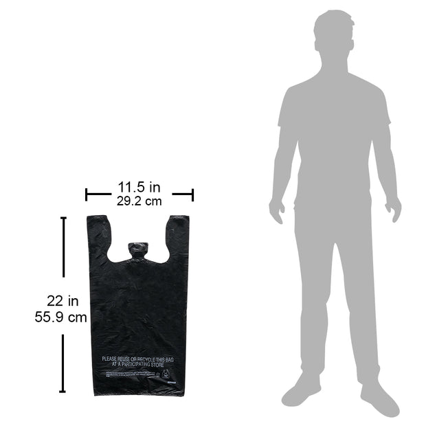 T-Shirt Bags - 300 Count - Plain Black