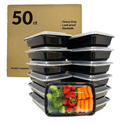 food containers, value pack, 50 count, bento boxes, leak-proof, food storage containers