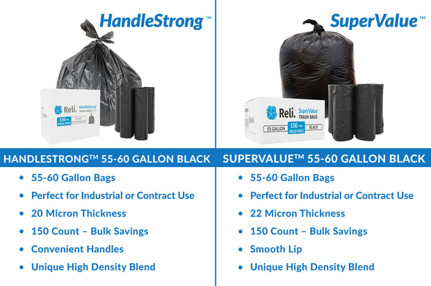 HandleStrong 55-60 Gallon - 150 Count - Black