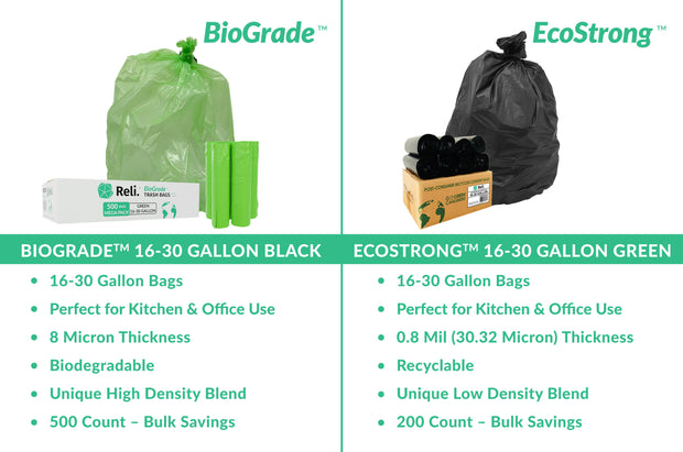 biodegradable perfect for kitchen and office use 500 count bulk savings comparison to 200 count ecostrong black trash bags